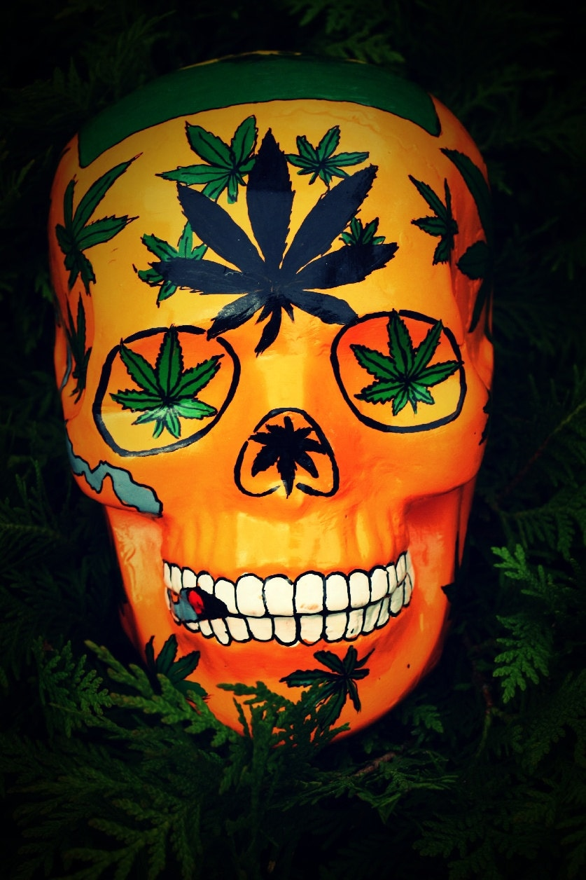 sugar skull jour de la mort la main marijuana haute cannabis. Black Bedroom Furniture Sets. Home Design Ideas