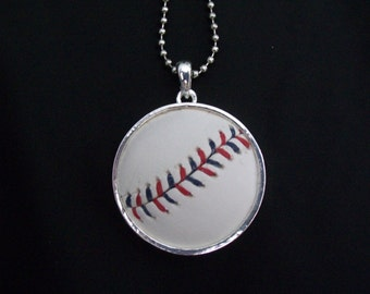 Baseball Necklace- Red/Blue Stitches Limited Edition- Round 1 5/8 inch, Metal Back
