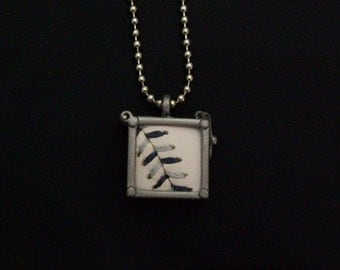 Baseball Necklace- Navy Blue/Gray Stitches Limited Edition- Glass Back- Square 3/4 inch