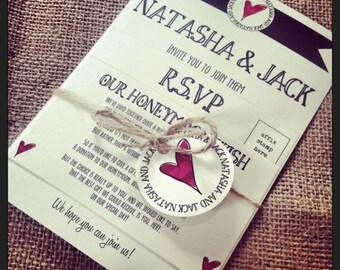 1 Rustic/Vintage/Shabby Chic Style wedding invitation stationery sample - Natasha Bundle