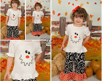 Ghost Pant Set, Personalized Shirt with Ruffle Shorts, Capri, or Pants, Halloween Pants Set