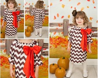 Thanksgiving Dress,Brown Chevron Dress