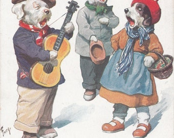C1920 Delightful 3 Dogs Singing,One Playing Guitar Sweet Bohemian Look/Dress Postcard Must See