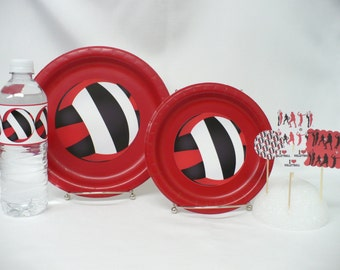 Red & Black Volleyball Plates/Water Bottle Labels/Party Picks w/Volleyball Shape Party Package