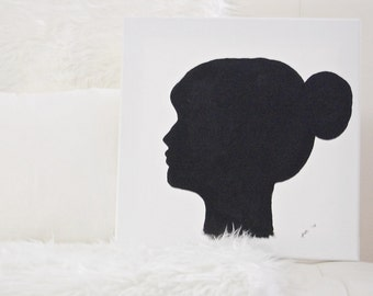 Custom Cameo Silhouette Portrait On Canvas - Made to Order Custom Canvas Painting 12x12 inches