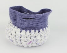 Crochet Fabric Basket, Crochet Basket, Decor Basket, Storage Basket, Yarn Basket, Toys Basket, Purple Crochet Baskat, White Crochet Basket