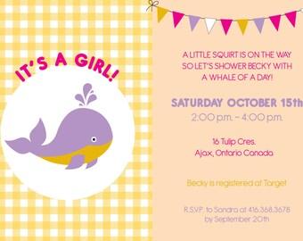 Preppy Whale Baby Shower Girl Invitation