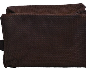 Personalized Waffle Cosmetic Bag Large Brown with FREE Personalization & FREE SHIPPING ww-brown