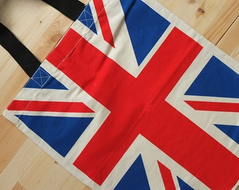 UK British Flag Cotton Canvas Punk Rock Tote Bag
