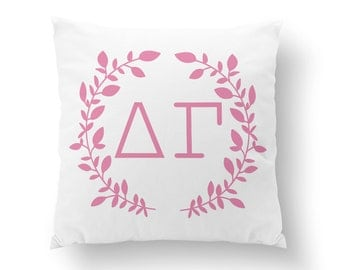 "Delta Gamma Wreath Pillow - 10"" or 16"" ΔΓ / Sorority Pillow, Big Little Gift, Sorority Life, Dorm Decor"