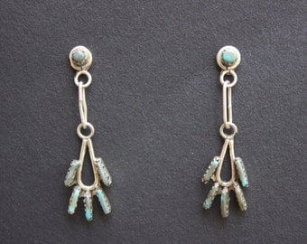 Sterling Silver and Turquoise Zuni Drop Earrings