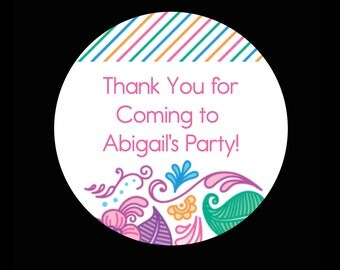 Thank You For Coming To My Party 2 Inch Glossy Round Stickers, Striped  - Set of 12