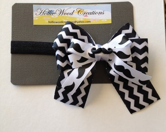Adorable black chevron mustache headband for your little one