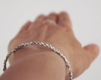 silver crochet bracelet
