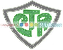CTR Shield Applique Design -In Hoop sizes  4X4 , 5x7 and 9x9- Instant Download - for Embroidery Machines