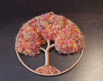 Vintage Wool Family Tree Wall Hanging