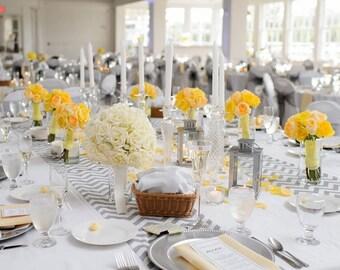Beautiful Wedding Table Runner in Grey and White Chevron Custom