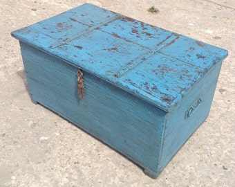 Vintage painted wooden chest from Rajasthan.