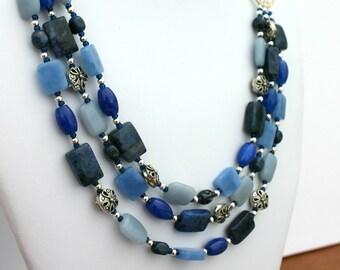 Blue jeans necklace, multistrand necklace
