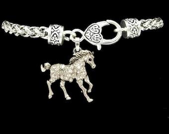 Horse Rhinestone Charm Bracelet
