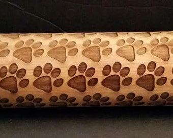 Personalized Engraved Wood Rolling Pin RP-Paws