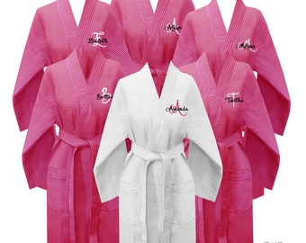 Set of 11 Personalized Waffle Weave Robes with First Name and Single Initial