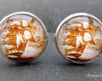 Cufflinks sailing ship