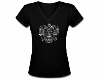 Russian two headed eagle black v neck customized women t shirt -fit the body