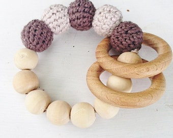 Teething ring, rattle, teething toy, wood and crochet beads, baby teething, wood toy, eco baby, eco rattle
