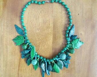 "Handmade/Vintage Papier Mache ""Summer Leaves"" Necklace"