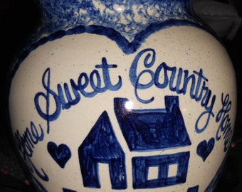 Vintage Home Sweet Country Home Pottery Cookie Jar/ With Lid