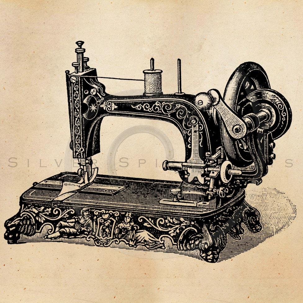 vintage sewing machine illustration printable 1800s machines. Black Bedroom Furniture Sets. Home Design Ideas