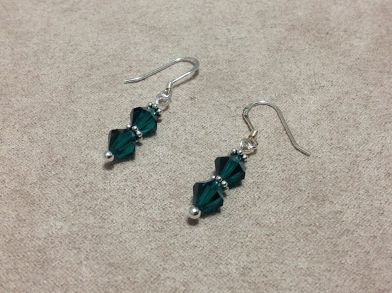Earrings Dangle Sterling Silver Swarovski Crystals Emerald Green Daisy Spacers Earwires  CL1506