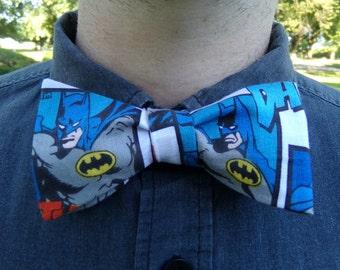 Batman Bow Tie Comic Book Tie Marvel DC Kids Superhero Bow Tie Teenage Boy Gift Vintage Retro Tie Prom Wedding Self Tie Adjustable Neck Tie