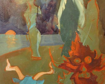 Vintage Abstract fantasy oil painting landscape figures
