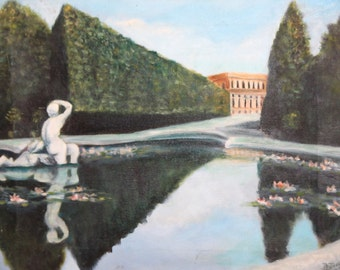 Impressionism Park Landscape Oil Painting Signed