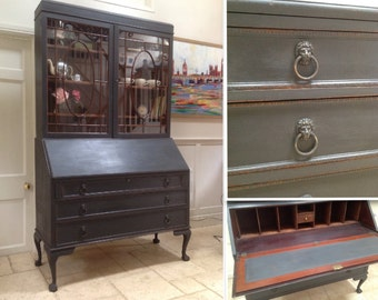 Antique Edwardian Bureaux Bookcase Writing Desk Display Cabinet Secretaire Black Painted.
