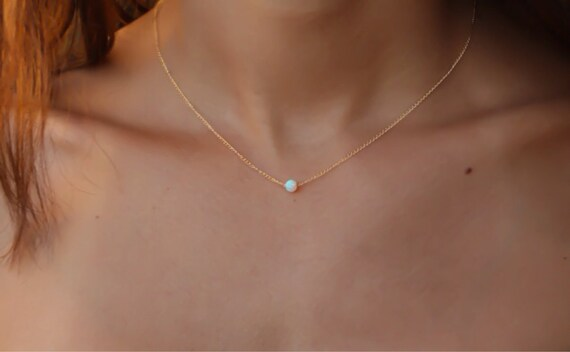 Gold necklace opal necklace opal jewelry white opal like this item aloadofball Image collections