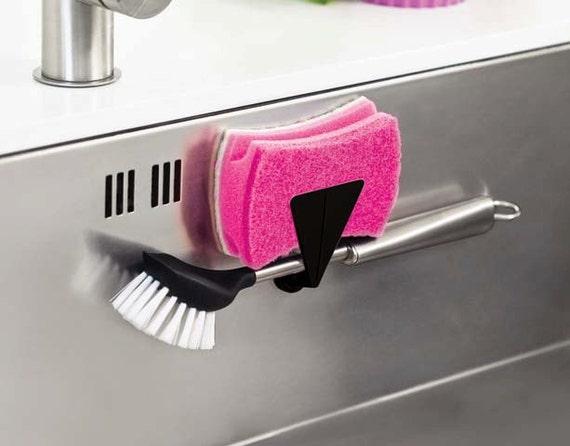 magnetic holder for brush or sponge use in kitchen sink