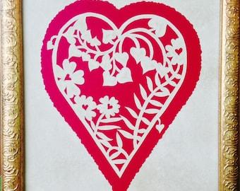 "Floral Vine Heart ORIGINAL Handmade Paper Cutting, Scherenschnitte, fits 8X10"" frame"