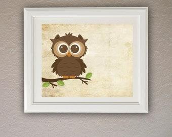 Brown Owl Wall Art Nursery Wal Art Instant Download DIY