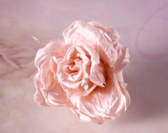Bridal silk satin rose hair pin, headpiece - Flower hair pin, Ready to Ship