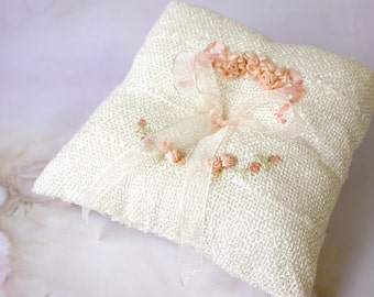 Ribbon embroidered flower Ring pillow - wedding ring bearer pillow