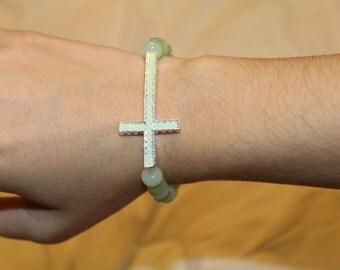mint green cross bracelet