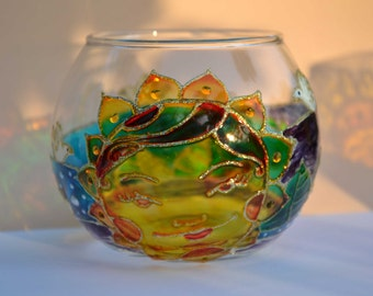 Hand painted glass candle holder, original painting