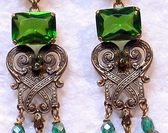 "French Earrings (Clips) ""Raj Vert"":  Bronze with Green Beads"