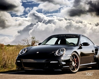 Porsche 911 997 TT Left Front Black on 360 Forged wheels HD Poster print