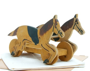 Vintage toy, wood horses, antique horse toy, antique toy, rocking horse, baby horse toy, horse riding toy, vintage horse toy, wooden horse