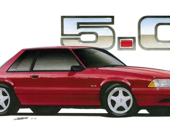 1992 Ford Mustang LX 5.0 Coupe 12x24 inch Art Print by Jim Gerdom