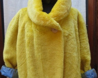 Vintage Yellow Faux Fur MOUTON with new silk lining. One Size One-of-a-kind.